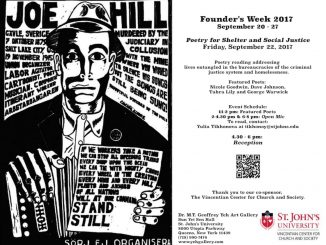 Join our community for an open mic and reading during founder's week.