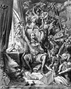 Engraving of Gustave Dore illustration of Don Quixote in his library